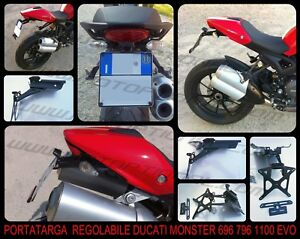 Portatarga-Regolabile-Ducati-Monster-696-796-1100-1100EVO-LUCE-TARGA