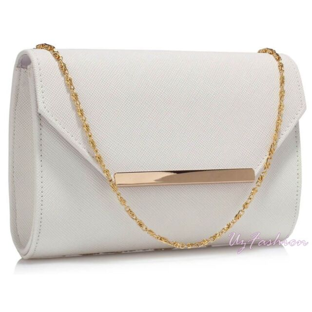 WHITE SATIN LADIES PARTY EVENING CLUTCH HAND BAG HANDBAG PURSE