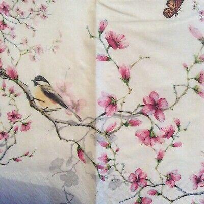 paper napkins decoupage x 2 birds and blossom 21cm