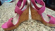 Steve Madden Womens Heels Shoes Pink Tan Wedge Straps very decorative 8.5