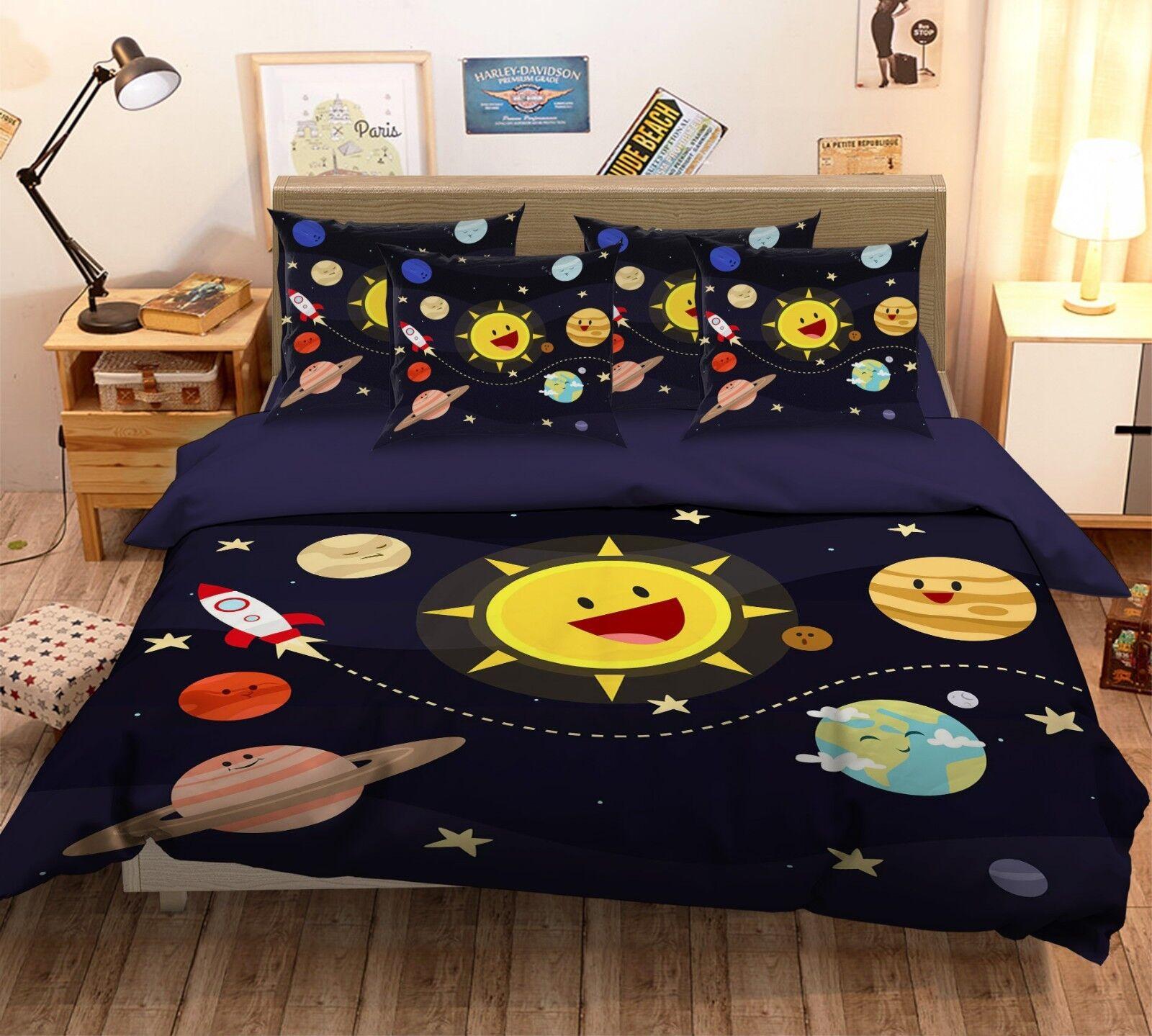 3D Cartoon Galaxy 76 Bed Pillowcases Quilt Duvet Cover Set Single King UK Summer