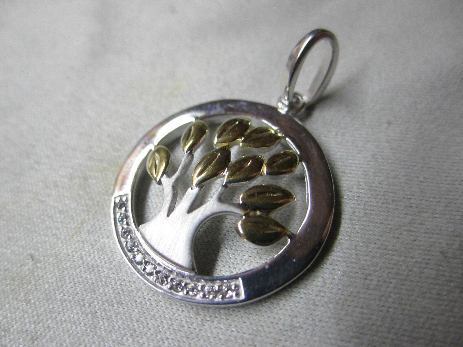 Anhänger Lebensbaum in silver 925 rhodiniert teils yellow vergoldet mit Zirkonia