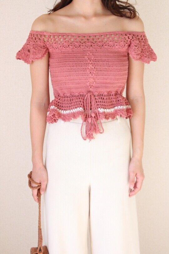 Cleobella Sarah Top Knit Crochet Pink Mauve Small S Free People off shoulder