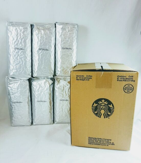 Lot Of 6 Starbucks Decaf Espresso Whole Bean Coffee Dark