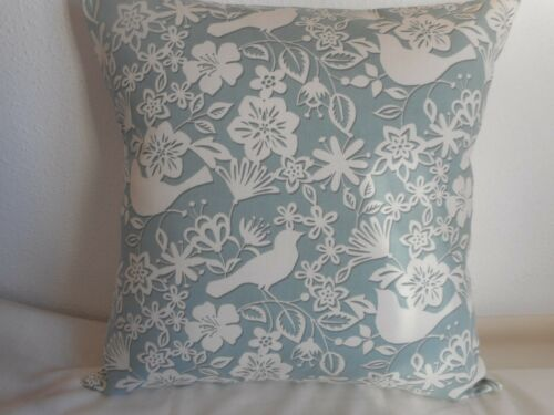 """Fleurs /& oiseaux design Housse de Coussin en coton 17/""""//43cm Bleu Clair Blanc//Ivoire Feuille"""
