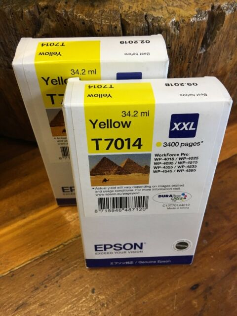 2 Epson T7014 Yellow Ink Cartridge WorkForce Printer Genuine XXL Expiry 2018/19