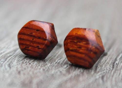 Unisex Post Earrings Titanium Wood Ebony Round Triangle Hexagon Men Women Pair