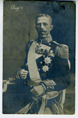 1913 RPPC Postcard King Gustaf V of Sweden