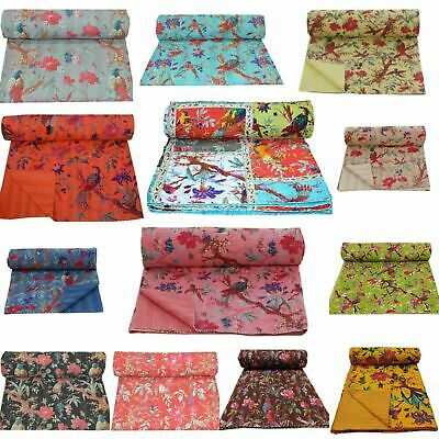 Majisacraft Indian Reversible Bedspread Brown Pattern Indigo Gudri Pure Cotton Kantha Style Queen Size Quilt Bed Spread Bedding Throw Kantha Stitch Quilt 90 X108 Inche
