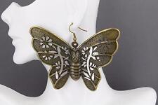 Bronze huge butterfly earrings big giant lightweight dangle earrings large size
