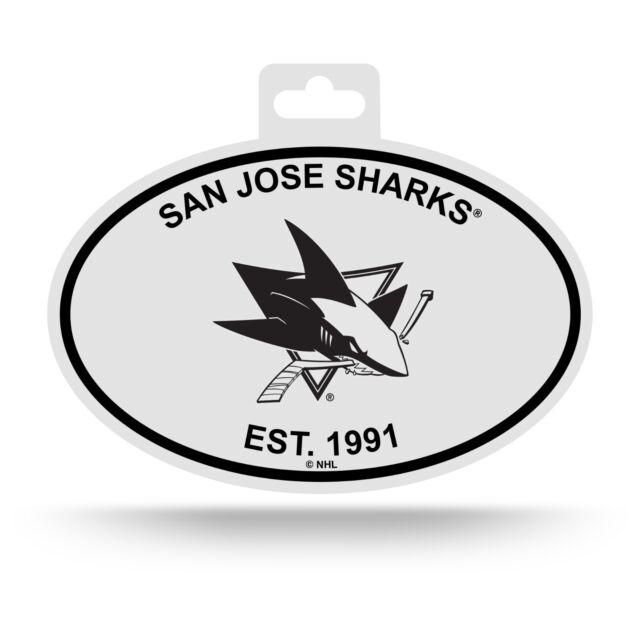 NHL Black and White Team Logo Oval Sticker