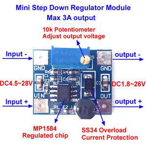 3A Mini DC-DC step down converter volt regulator 5V-23V to 3.3V 6V 9V 12V W3