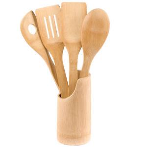 Set-Utensili-Attrezzi-da-Cucina-con-Supporto-Vaso-Contenitore-in-Legno-di-Bambu