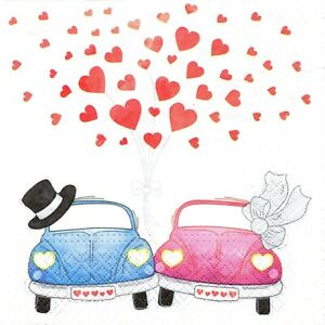 Raisonnable Serviettes En Papier Mariage Voitures Des Maries. Paper Napkins Wedding Car Love 100% D'Origine