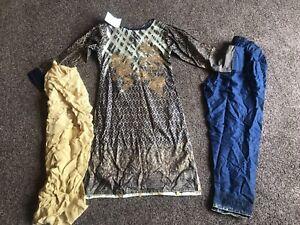 Gold Pantaloni Kameez Sequence Navy New Outfit Small Suit Salwar Ladies Pakistani tEnS8