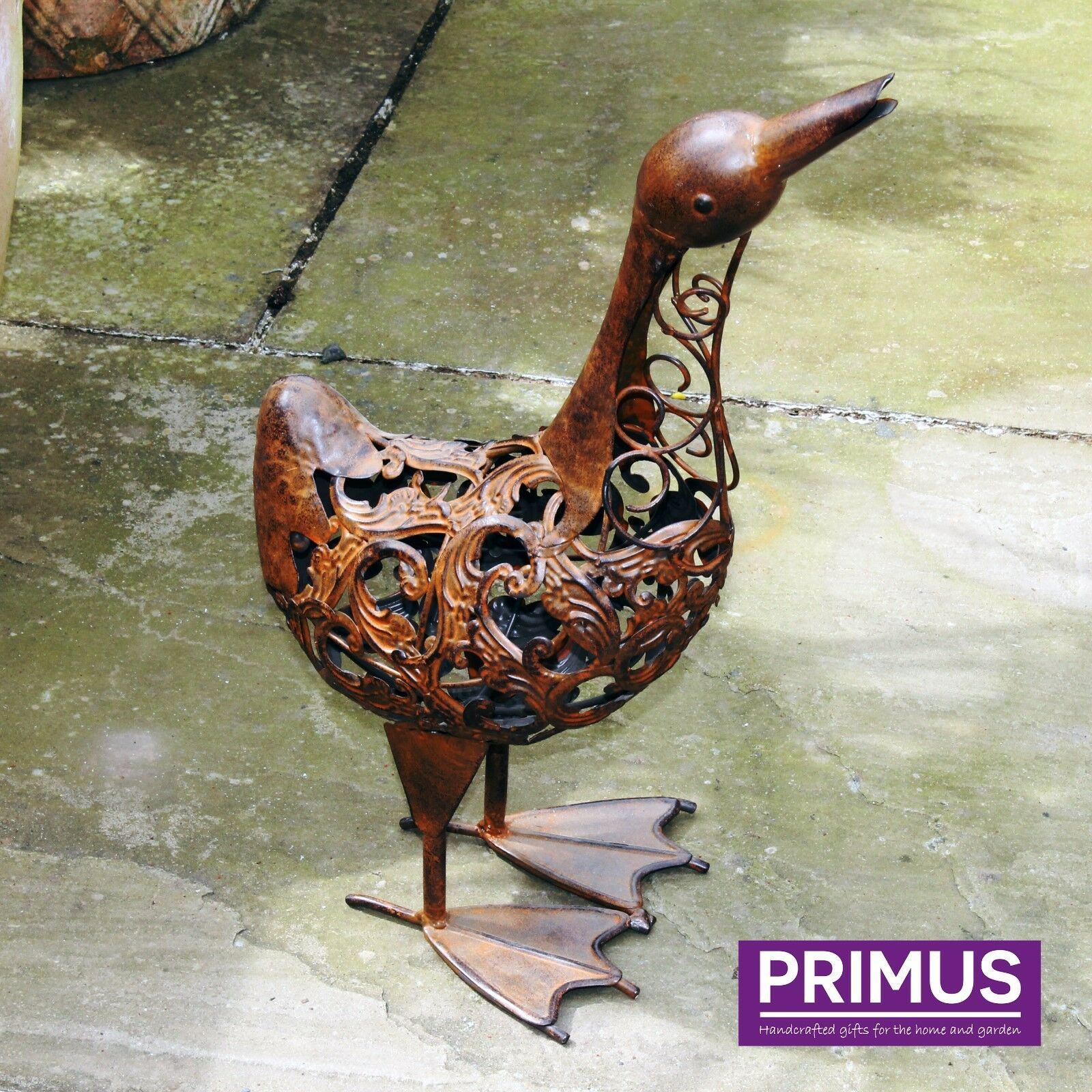 Primus Hand Crafted Metal Rusty Duck Garden Ornament Bird Sculpture Rustic Gift