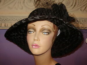 c528f2430fe88 Derby Hat BLACK ON BLACK Church Wide Brim LAMPSHADE Hats 22 1 2 ...