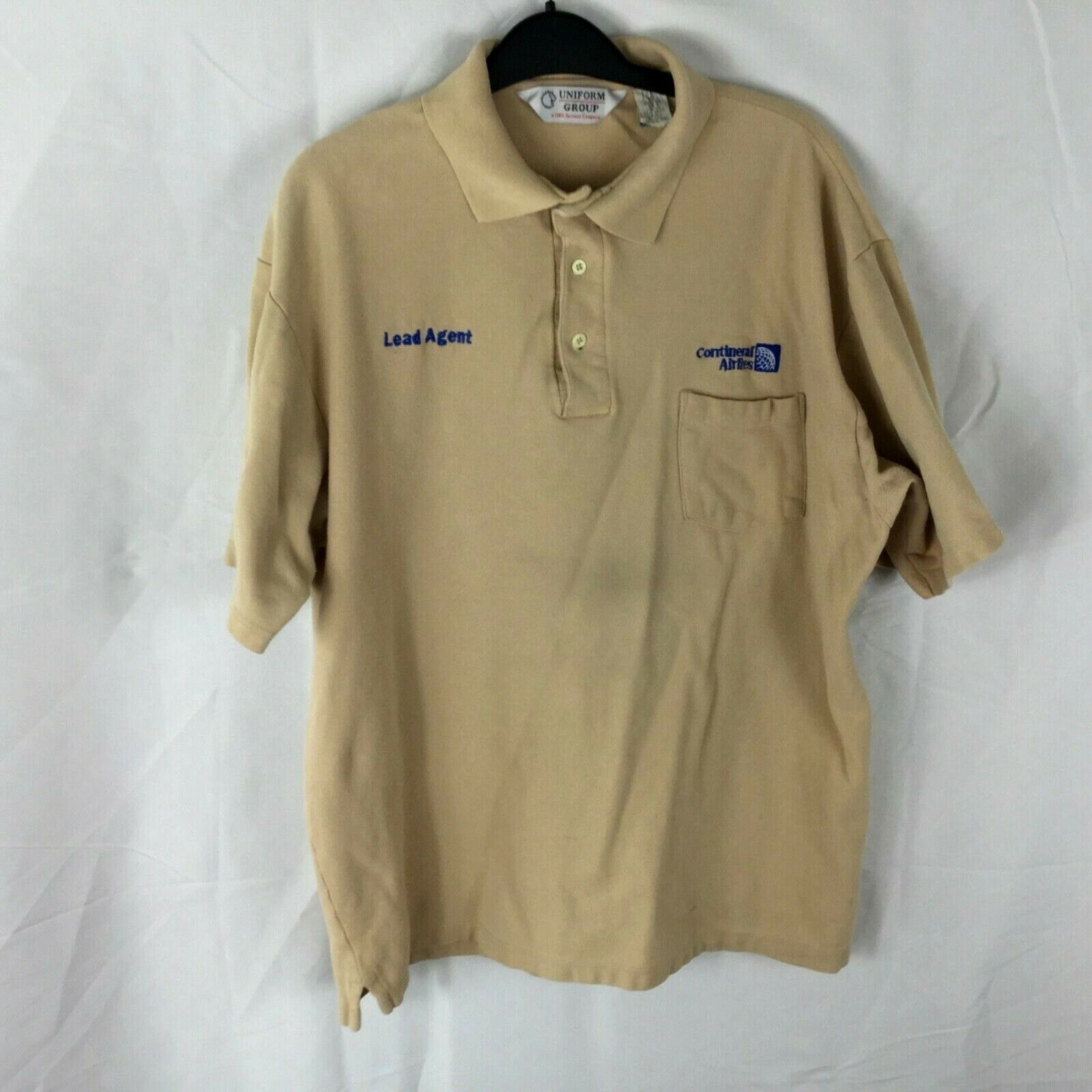 Continental Airlines Vintage Authentic Lead Agent Brown Embroidered Logo XL Polo