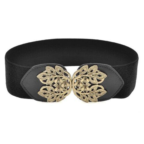 L5A8 Elastic Fabric Band Plum Blossom Design Cinch Belt for Ladies S5U7