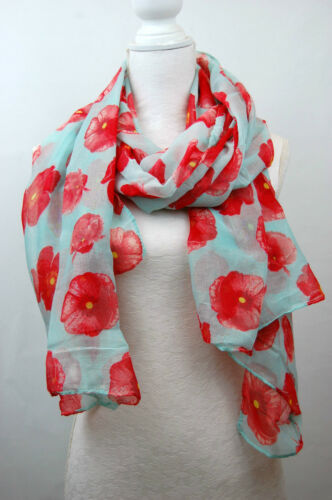 Mohnblumen Bedruckter Schal Sommer Blume Strand Tuch Damen Rote Mohn Mode Schal