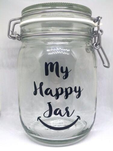 Ideal for DIY Happiness Positivity Jar My Happy Jar Vinyl Decal Sticker