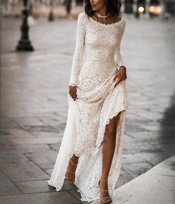 Boho Lace Appliques Country Wedding Dresses Modest 3//4 Sleeves Beach Bridal Gown