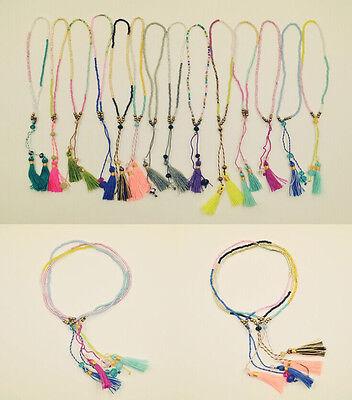 2016 Bohemia tassels Handmade colour Woven Friendship strand Bracelet 3/5/10 pcs