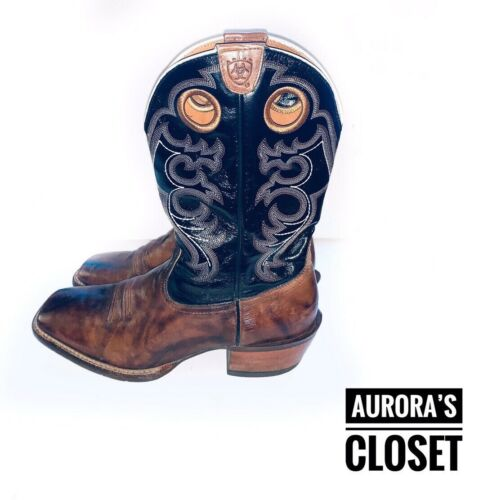 Ariat 12 Brown Leather Western Crossfire Buckskin