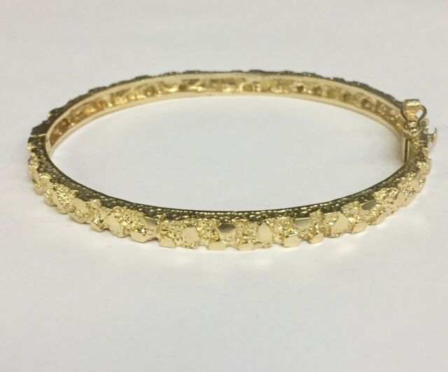 14kt Solid Yellow Gold Nugget Hinged Bangle Bracelet 7 4 5 Mm 15 Grams