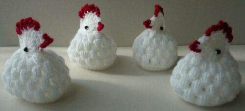 Pâques Handmade Crochet œuf Warmers poussins blanc lot de 4