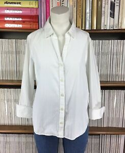 JAEGER-top-blouse-shirt-office-formal-smart-collared-button-down-UK-12-14