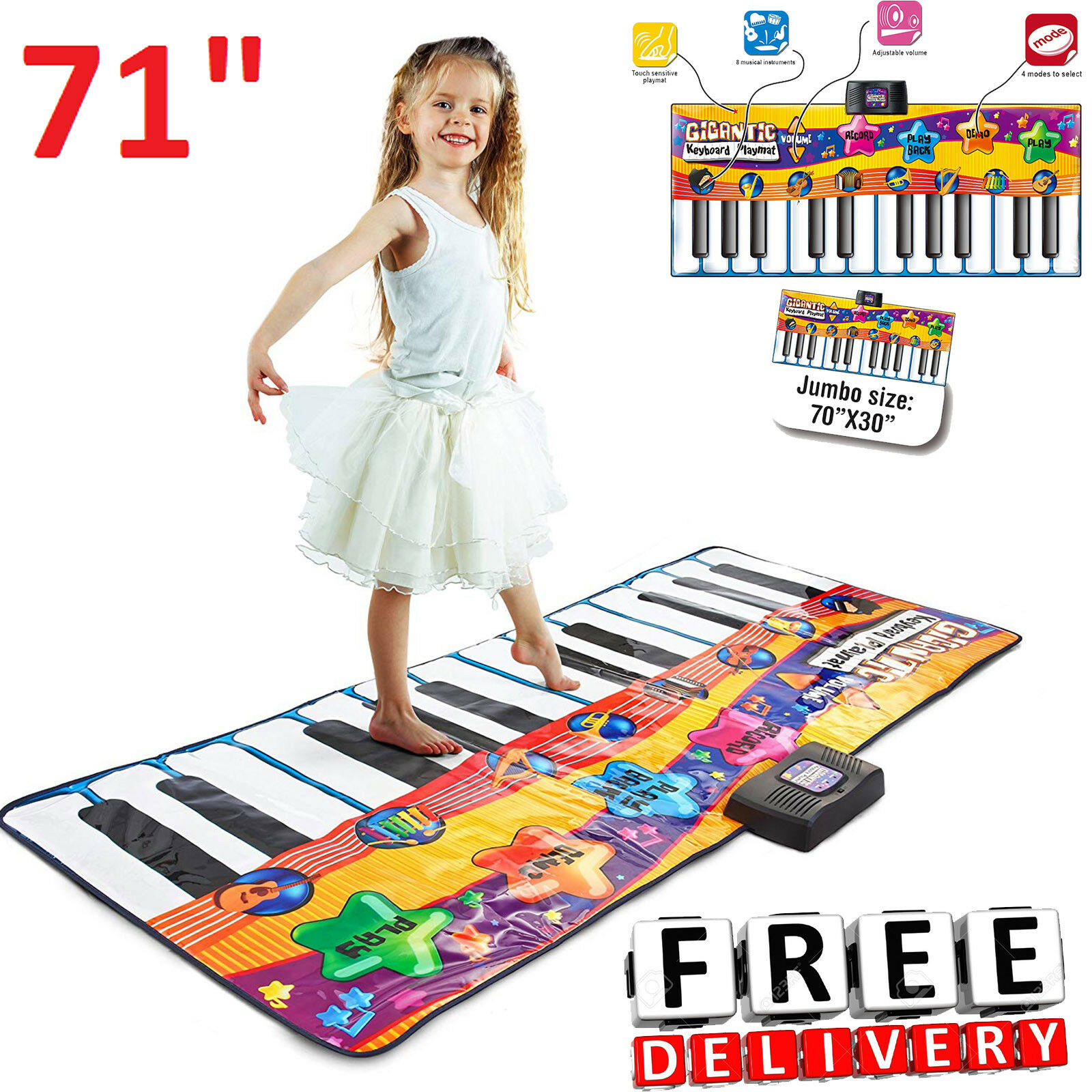 Floor Piano Mat 71  Kids Electronic Music Playmat Dance Carpet Educational Toy