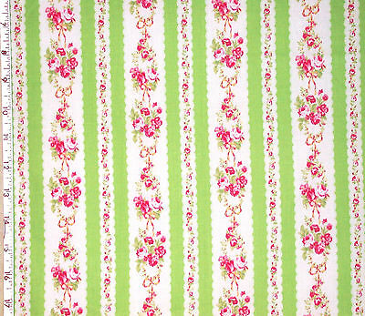 1YD Japanese FLOWER SUGAR Rose Stripe LIME PINK Cottage Shabby Chic Lecien Japan