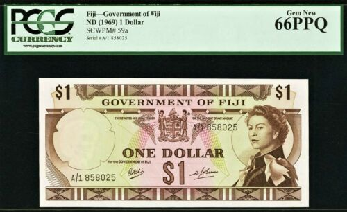 Fiji QEII One Dollar 1969 Prefix A//1 Pick-59a GEM UNC PCGS 66 PPQ