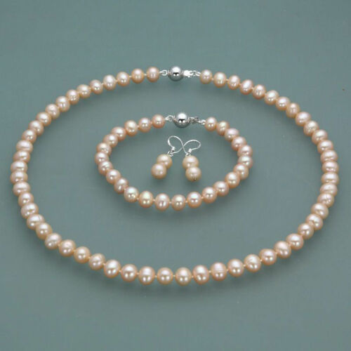 7-8mm Real Natural Freshwater Pink Pearl Necklace Bracelet Earrings Jewelry Set