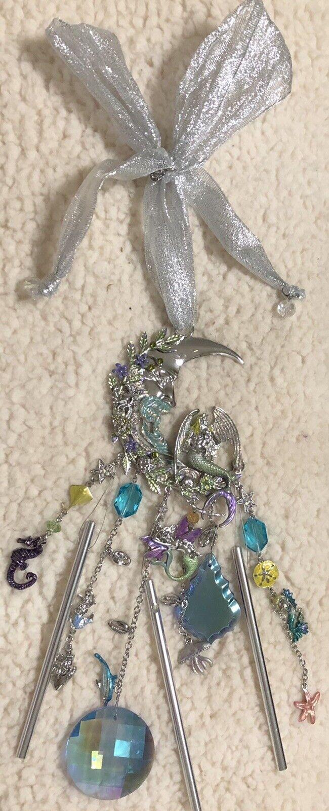 NIB Kirks Folly Mermaid Moon Crystal Wind Chime Enameled, Charms & Beads