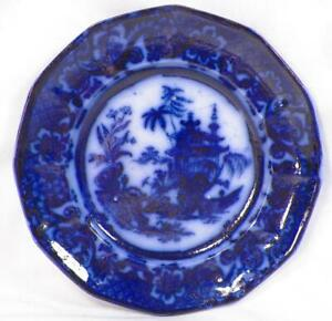 Chen-Si-Flow-Blue-Luncheon-Plate-John-Meir-amp-Sons-Ironstone-Antique-4
