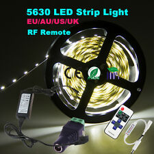 Dimmable 5M 5630 SMD Warm Cool White 300 LED Strip Light +RF remote+12V Power+DC