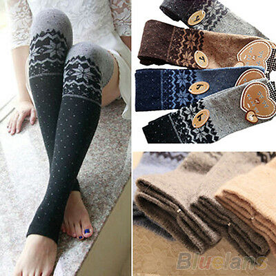 Women Snowflake Thigh High Leg Warmers Socks Winter Over Knee Boot Cuff Stocking