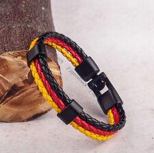 Germany Flag Mens Women Rope Surfer Faux Leather Bracelet Black Clasp