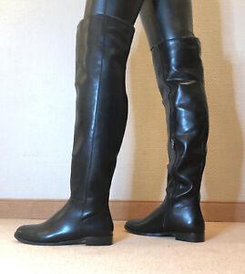 Gr-45-TOP-Exklusiv-Sexy-Damen-Schuhe-Flache-Overknee-Stiefel-Maenner-Boots-C9