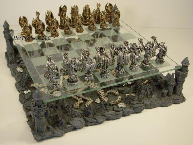 étain métal   époque médiévale Dragon Fantasy Gothique Chess Set W Verre Board  prix bas tous les jours