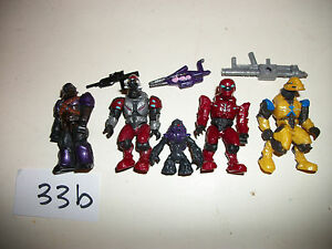 Mega Blocks Minifig Figure Halo Spartans Alien Space Soldier Lot x4 Xbox Toy 33b