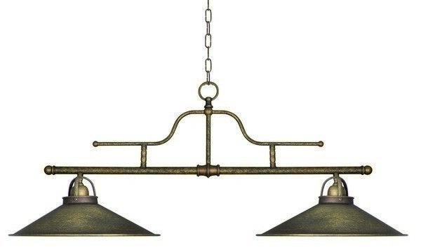 Lampada Lampadario in ottone brunito con campana a 2 coni lungo 1 metro