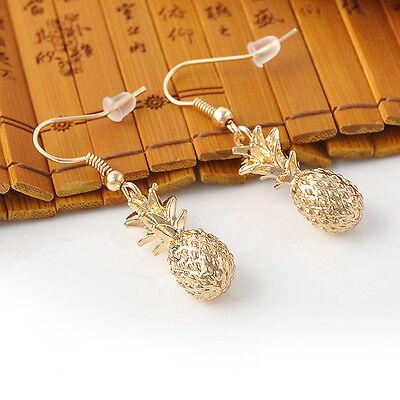 Fashion Cute Fruit Pineapple Design Gold Tone Dangle Earrings OL Gift