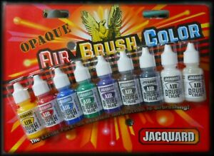 Jacquard-AIR-BRUSH-COLORS-OPAQUE-9-Color-Set-Paint-14ml-Fabric-Leather-Wood