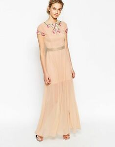 Frock-and-Frill-Maxi-Dress-Garden-Floral-nude-multi-UK6-8-12-16-A11