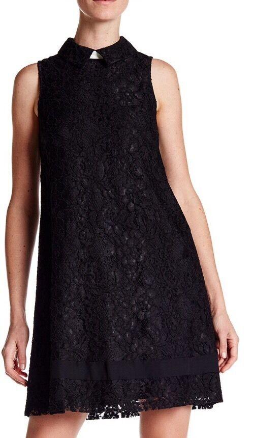 NWT Nanette Lepore Self-tie Collar Lace Dress schwarz Sz 2 R