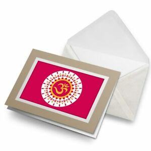 Greetings-Card-Biege-Pink-OM-Buddhist-Indian-Yoga-4123