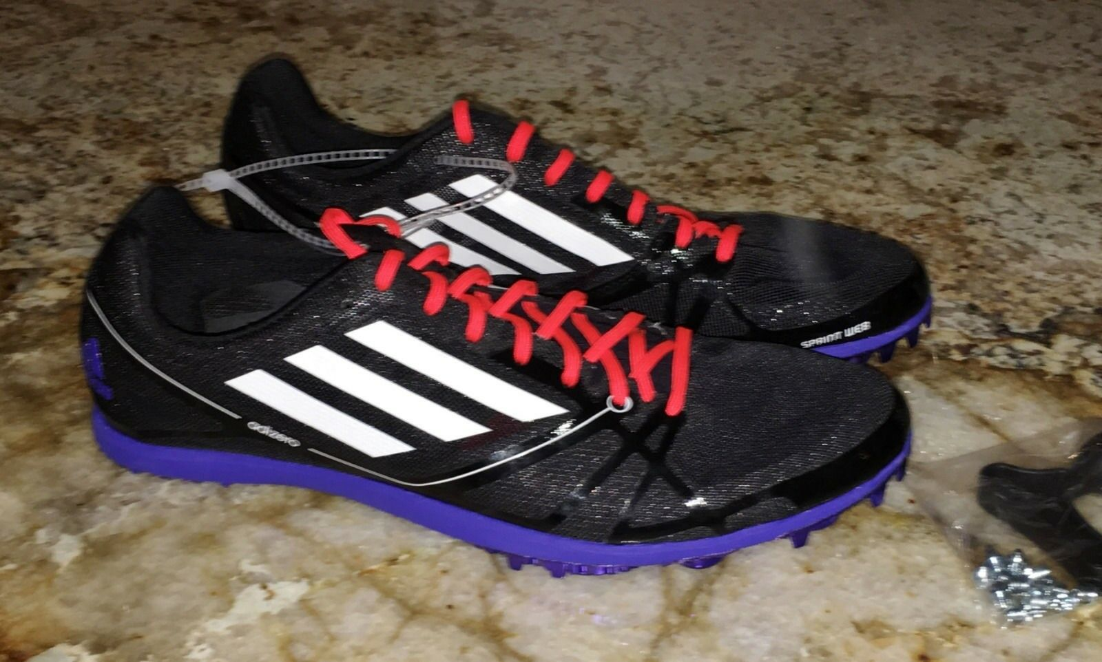 ADIDAS AdiZero Avanti 2 Distance Track Spike shoes BLACK White Red NEW Mens Sz 6